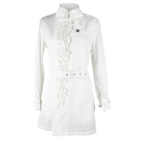 Roberto Cavalli Coat Trench Laser Cut Detail Winter White 42 / 8 NWT
