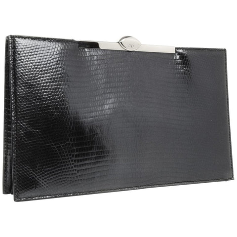 Christian Dior Bag Clutch Black Lizard Top Frame Sleek