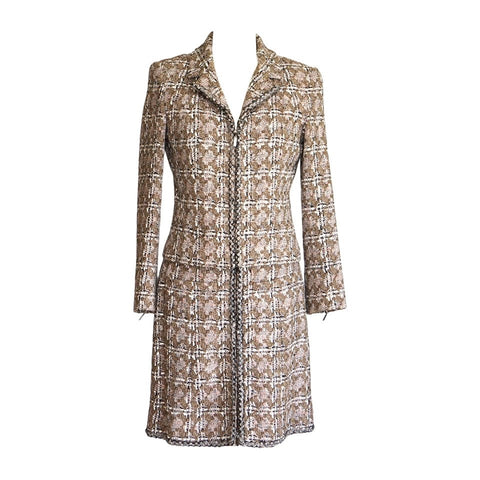 Chanel 03P Skirt Suit Taupe Tweed Zipper Front 40 / 8 New