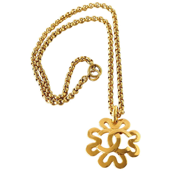 Chanel Vintage Necklace Cutout Flower Large CC