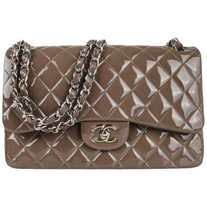 Chanel Bag Patent Leather Jumbo Double Flap Taupe New