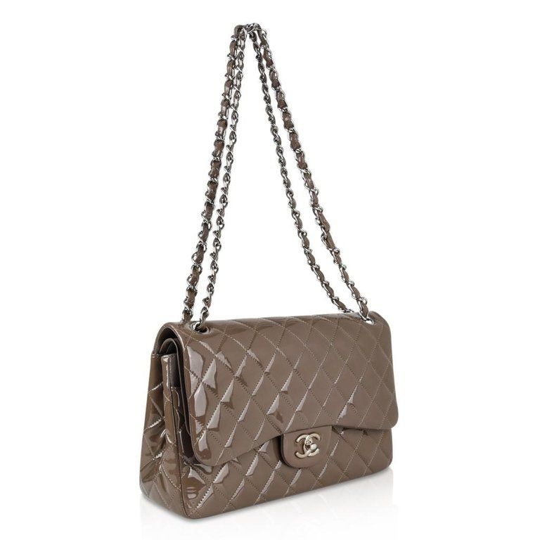 bba36d4abad2ac Chanel Bag Patent Leather Jumbo Double Flap Taupe New
