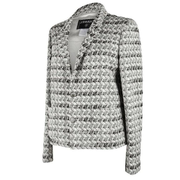 Chanel Jacket 05P Tweed Subtle Silver Thread 44 / 10