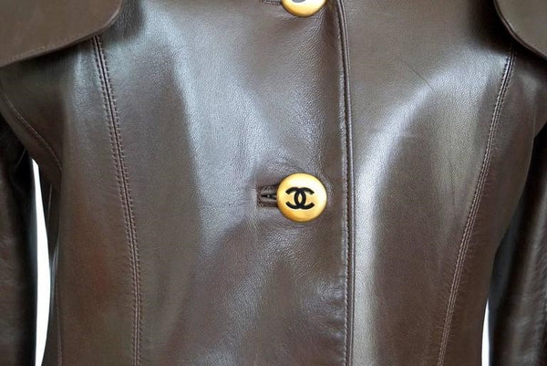 Chanel Vintage Leather Jacket Lots CC Buttons Rear Button Vent 40/6 Mint