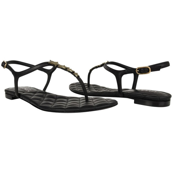 Chanel Shoe CC Star Paris Dallas Black T-Strap Thong Sandals 38 C / 8 New