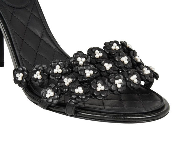 Chanel Shoe Camellia Black Leather Flowers w/ Pearls Sandal 40 / 10 New