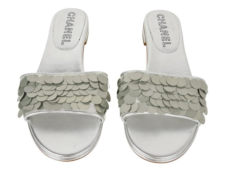 Chanel Shoe Silver Slide Light Catching Paillette Sequins 39.5/ 9.5 New
