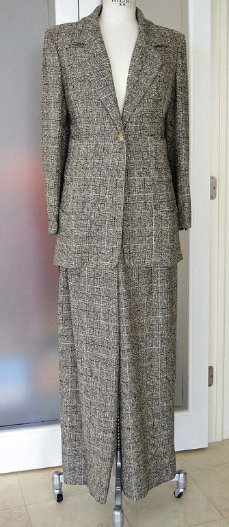 Chanel 97A Pant Suit Rich Windowpane Tweed 44
