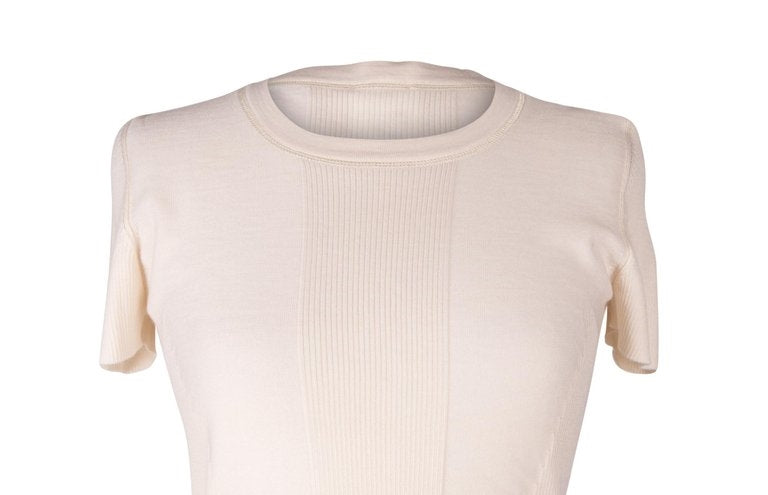Chanel 03C Top Cream Cashmere Silk Soft and Light Pretty Detail 42 / 8 nwt