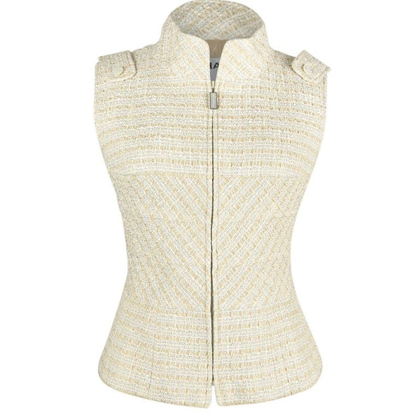 Chanel 01P Vest / Top Nude Fantasy Tweed Silver Metallic Accent 42