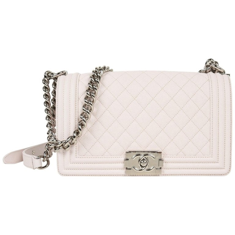 9e896dfa53e4 Chanel Bag White / Nude Quilted Caviar Medium
