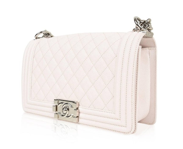 Chanel Bag White / Nude Quilted Caviar Medium