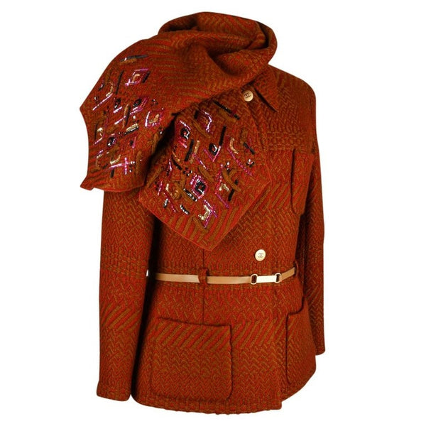 Chanel 00A Jacket Red Camel w/ Sequined Scarf Diamante CC Buttons 42 / 8