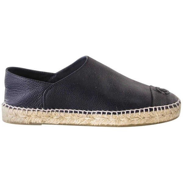 Chanel Shoe Espadrilles Cambon Loafers Dark Navy Leather 39 / 9