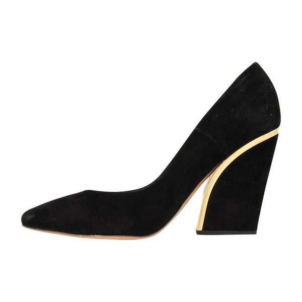 Chloe Shoe Block Heel Pump Jet Black Suede Gold Detail 39 / 9
