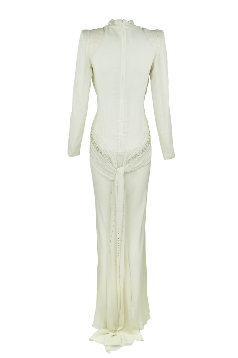 Vintage Christian Dior White Silk Beaded Gown