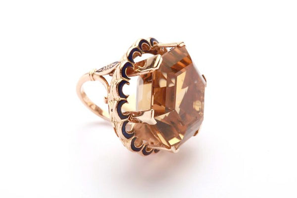 Citrine Enamel Gold Ring