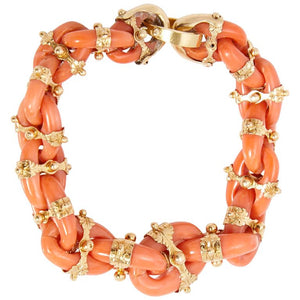 Antique English Coral Gold Link Bracelet