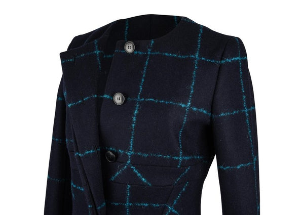 Christian Dior Coat Navy Wool Teal Mohair Window Pane 38 / 6