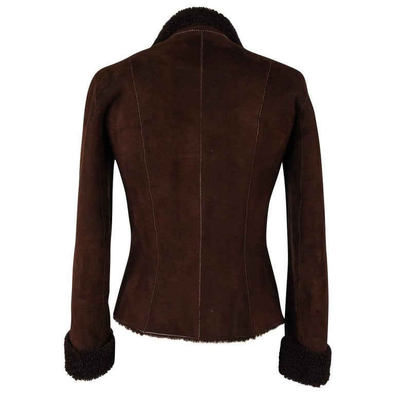 Miu Miu Shearling Jacket Rich Brown Zip Front Vintage 42 / 6