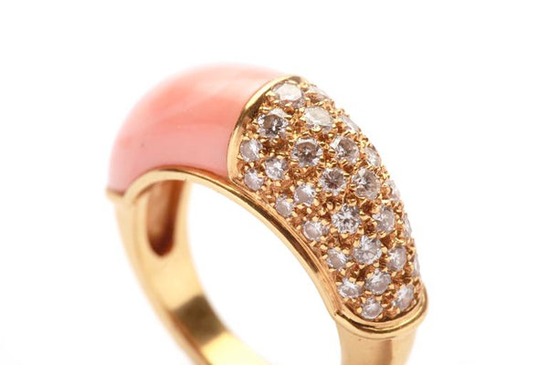 French Coral Diamond Pave Gold Ring