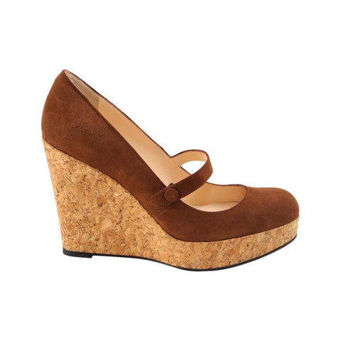 Christian Louboutin Suede Mary Jane Platform Cork Wedge