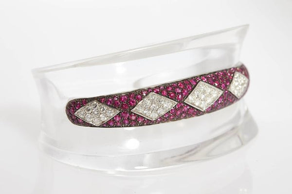 1980s Ruby Diamond Cuff Rock Crystal bracelet