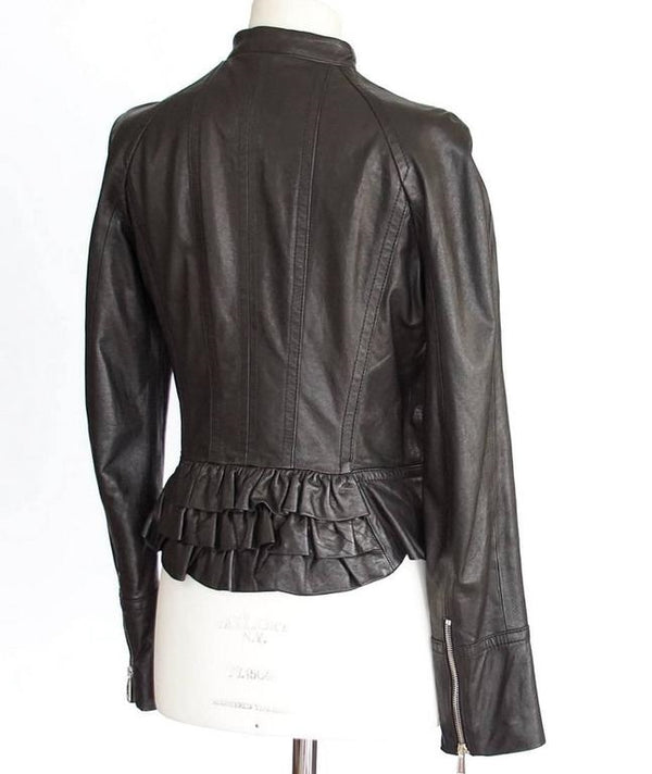DSQUARED2 Jacket Black Leather Motorcycle Influence Ruffle Detail 46 / 8