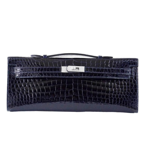 Hermes Kelly Cut Blue Marine Crocodile Set Diamond Bag Exquisite Clutch