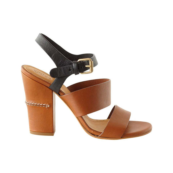 Chloe Shoe Cognac Brown and Black Block Heel Chic Sandal 39 / 9 new