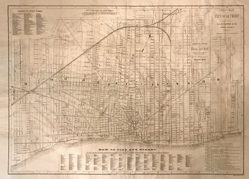 SILAS FARMER & CO., GUIDE MAP OF THE CITY OF DETROIT, 1886
