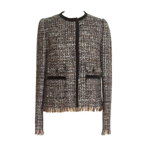 Dolce&Gabbana Jacket Fantasy Tweed Velvet Trim Fringe Hem 44 / 8
