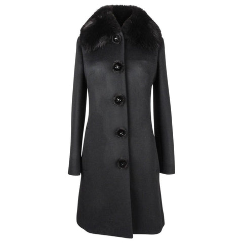 Christian Dior Coat Black Cashmere Mink Collar Mink and Paillette Buttons 6