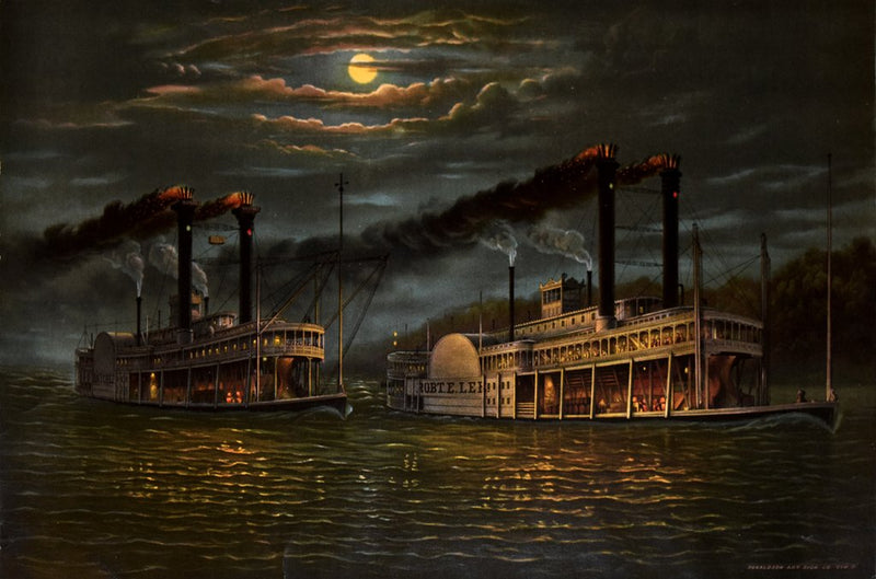 DONALDSON ART SIGN CO., NIGHT-TIME RACE BETWEEN PADDLEWHEELERS NATCHEZ AND THE ROBERT E. LEE.