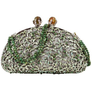 Edidi Bag Exquisite Swarovksi Diamante Jade Accented Evening Purse NWT