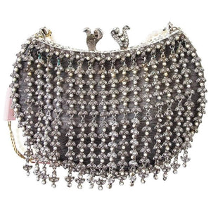 Edidi Bag / Clutch Jewel Pearl Encrusted Hand Made Evening Purse Pearl Handle