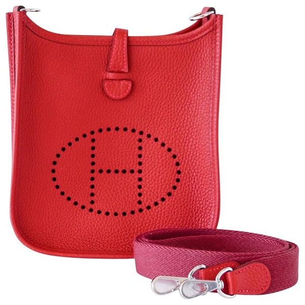 Hermes Mini Rouge Casaque Clemence Palladium Evelyne TPM Bag