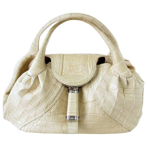 Fendi Matte Cream Crocodile Spy Bag