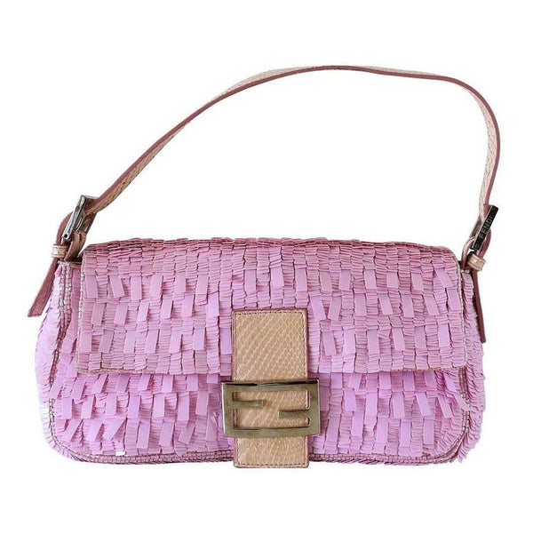 Fendi Baguette Bag Pink Paillettes Exotic Skin Handle Vintage
