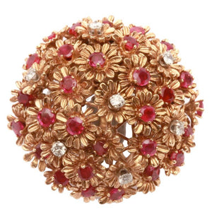 1960s Ruby Diamond Gold Floral Ring