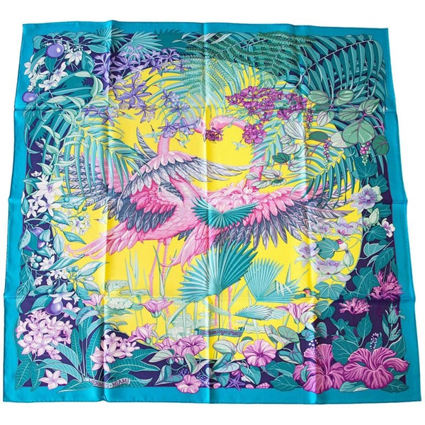 Hermes Flamingo Party Miami 90 cm Silk Limited Edition Blue Carre Scarf