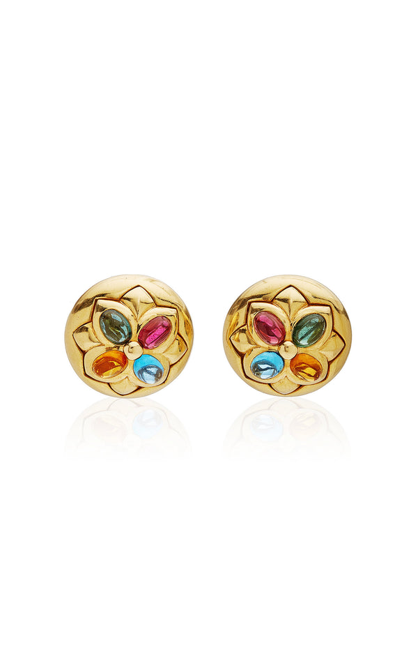 Bulgari Floral Motif Earrings with Blue Topaz, Citrine, Green and Pink Tourmaline Embellishments