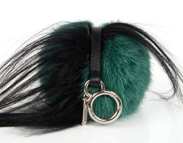 Fendi Monster Fur Bag Bugs Charm w/ Beak Green Multicolor Bag Keychain