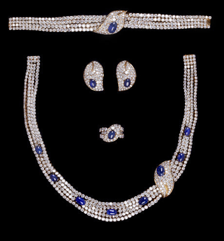 A Superb M. GERARD Sapphire and Diamond Full Parure