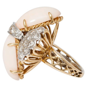 1960 Light Coral Diamond Gold Ring