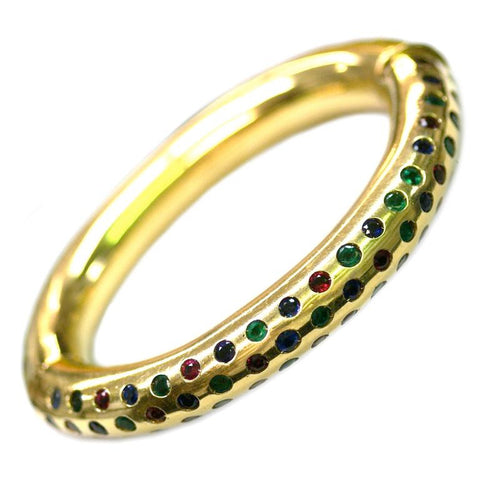 Italian 1970s Multicolor Gem-Set Gold Bangle