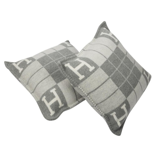 Hermes Cushion Avalon III PM Signature H Ecru Gris Clair Throw Pillow