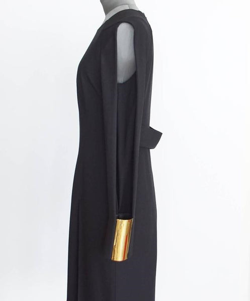 Gucci Dress Wide Gold Cuff Open Slit Sleeve Shoulder to Cuff 40 / 6