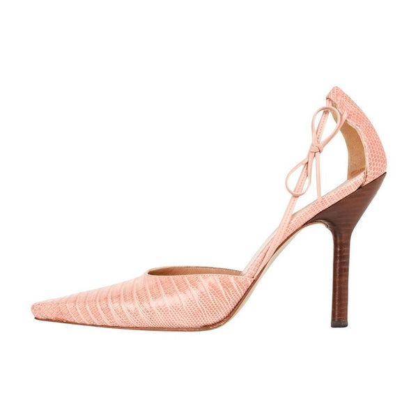 Gucci Shoe Pink Lizard Bow Detail Cut Out Sides 7