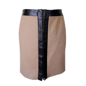 Gucci Skirt Camel Hair Leather Trim Front Zipper 40 / 6 Nwt